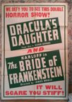 DRACULA'S DAUGHTER/BRIDE OF FRANKENSTEIN ('36) - Original Poster
